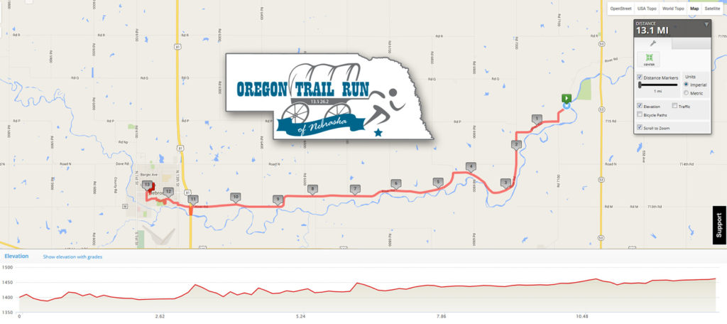 Oregon Trail Run of Nebrasaka - Half Marathon Map