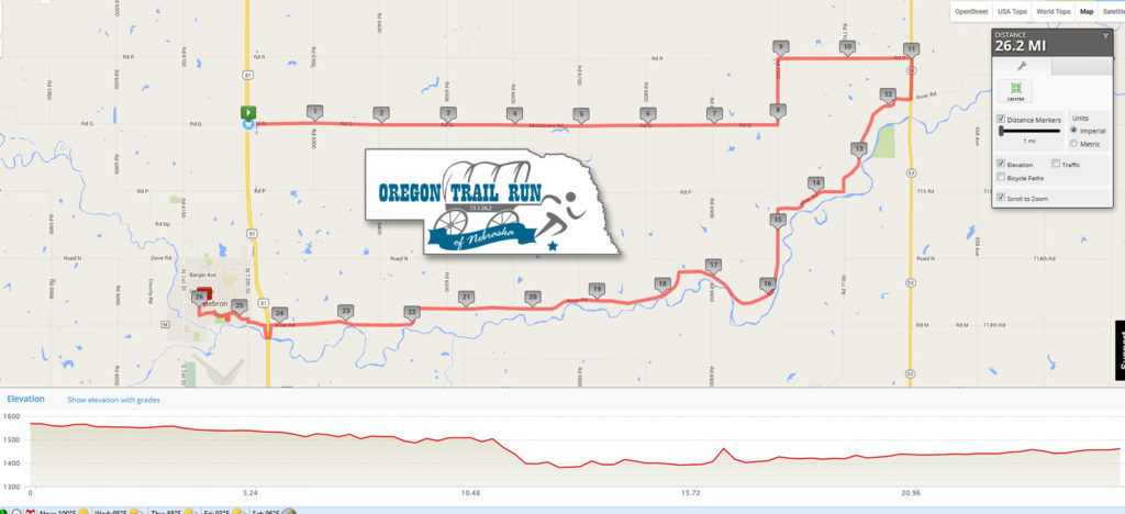 Oregon Trail Run of Nebrasaka - Marathon Map
